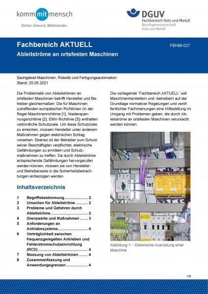 """FBHM-027 """"Ableitströme an ortsfesten Maschinen"""""""