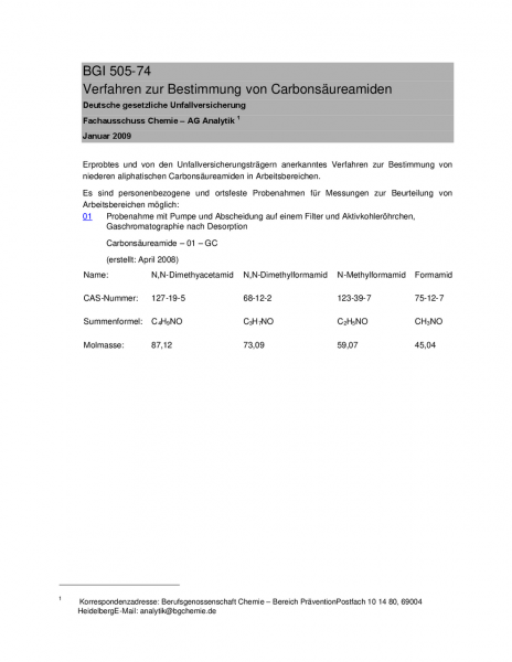 Verfahren zur Bestimmung von Carbonsäureamiden