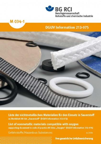 "Liste der nichtmetallischen Materialien - zu Merkblatt M 034 ""Sauerstoff"" (BGI 617), (Merkblatt M 03"