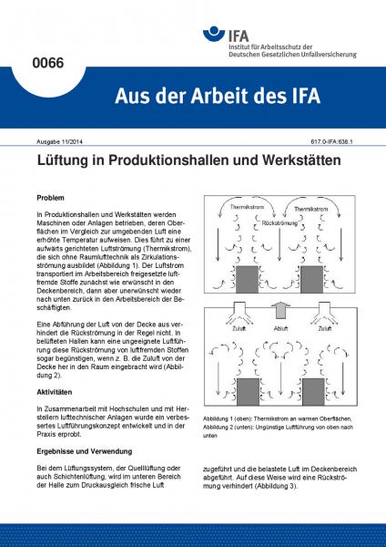 Lüftung in Produktionshallen und Werkstätten. Aus der Arbeit des IFA Nr. 0066