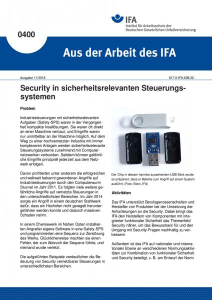Security in sicherheitsrelevanten Steuerungssystemen (Aus der Arbeit des IFA Nr. 400)