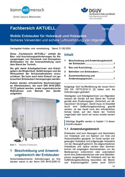 """FBHM-111 """"Mobile Entstauber für Holzstaub und Holzspäne - Sicheres Verwenden und sichere Luftrückfüh"""