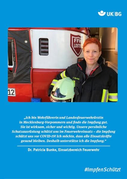 "Plakat #ImpfenSchützt, Motiv ""Frau Dr. Bunke"" (UK BG) Hochformat"