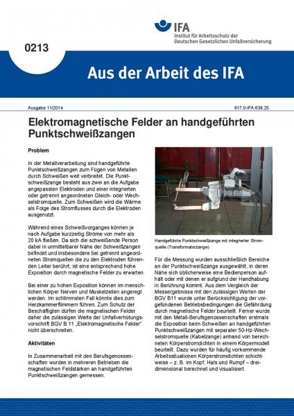 Elektromagnetische Felder an handgeführten Punktschweißzangen. Aus der Arbeit des IFA Nr. 0213