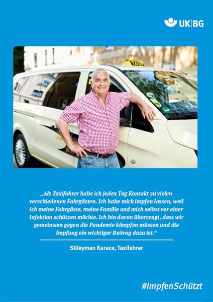 "Plakat #ImpfenSchützt, Motiv ""Herr Karaca"" (UK|BG) Hochformat"