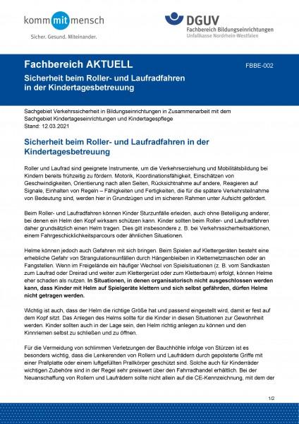"""FBBE-002 """"Sicherheit beim Roller- und Laufradfahren in der Kindertagesbetreuung"""""""