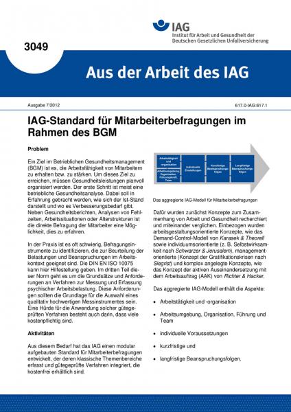 IAG-Standard für Mitarbeiterbefragungen im Rahmen des BGM (Aus der Arbeit des IAG Nr. 3049)