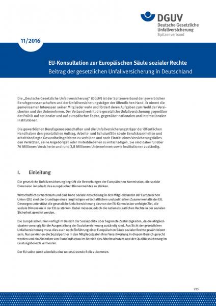 Stellungnahme der DGUV zur EU-Konsultation zur europäischen Säule sozialer Rechte – Beitrag der gese