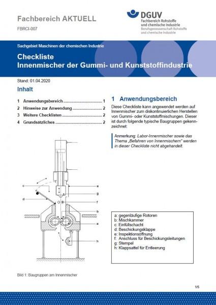 """FBRCI-007 """"Checkliste - Innenmischer der Gummi- und Kunststoffindustrie"""""""