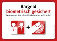 Aufkleber (klein) – Bargeld biometrisch gesichert