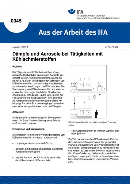 Dämpfe und Aerosole bei Tätigkeiten mit Kühlschmierstoffen. Aus der Arbeit des IFA Nr. 0045