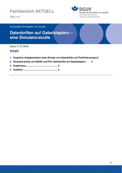 """FBHL-010 """"Datenbrillen auf Gabelstaplern – eine Simulatorstudie"""""""