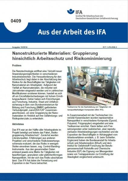 Nanostrukturierte Materialien: Gruppierung hinsichtlich Arbeitsschutz und Risikominimierung (Aus der