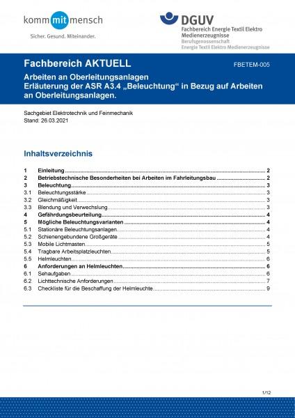 "FBETEM-005 ""Arbeiten an Oberleitungsanlagen - Erläuterung der ASR A3.4 ""Beleuchtung"" in Bezug auf Ar"