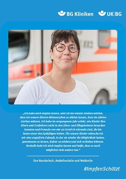 Plakat #ImpfenSchützt, Motiv: Eva Handschuh (UK|BG und BG Kliniken) Hochformat