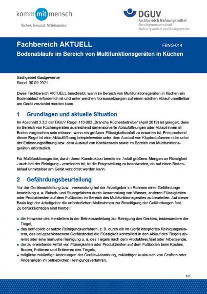 """FBNG-014 """"Bodenabläufe im Bereich von Multifunktionsgeräten in Küchen"""""""