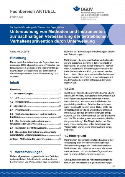 """FBORG-001 """"Untersuchung von Methoden und Instrumenten zur nachhaltigen Verbesserung der betriebliche"""