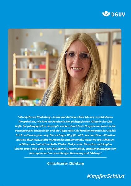 "Plakat #ImpfenSchützt, Motiv ""Christa Manske"" (DGUV) Hochformat"