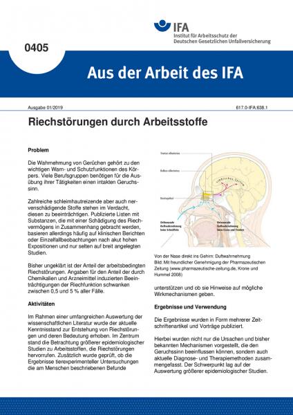 Riechstörungen durch Arbeitsstoffe (Aus der Arbeit des IFA Nr. 405)