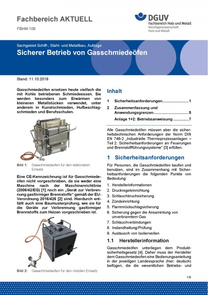 """FBHM-106 """"Sicherer Betrieb von Gasschmiedeöfen"""""""