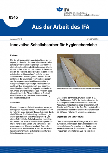 Innovative Schallabsorber für Hygienebereiche (Aus der Arbeit des IFA Nr. 0345)