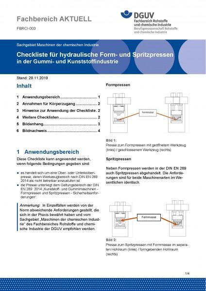 """FBRCI-003 """"Checkliste für hydraulische Form- und Spritzpressen in der Gummi- und Kunststoffindustrie"""