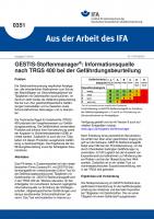 GESTIS-Stoffmanager: Gefährdungsbeurteilung nach TRGS 400 (Aus der Arbeit des IFA Nr.  0351)