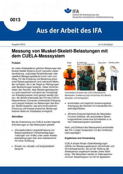Messung von Muskel-Skelett-Belastungen mit dem CUELA-Messsystem. Aus der Arbeit des IFA Nr. 0013