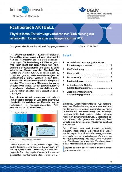 """FBHM-044 """"Physikalische Entkeimungsverfahren zur Reduzierung der mikrobiellen Besiedlung in wasserge"""