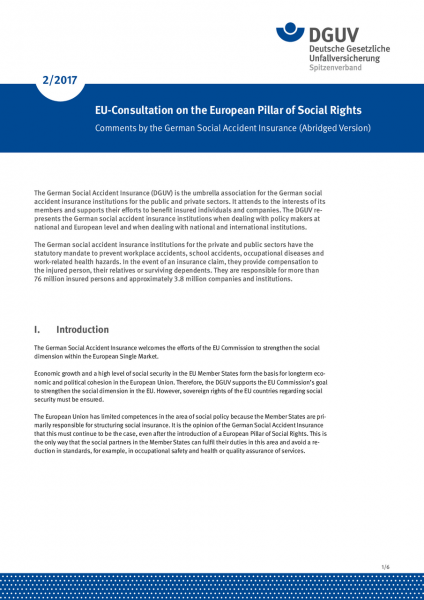 EU-Consultation on the European Pillar of Social Rights – Comments by the German Social Accident Ins