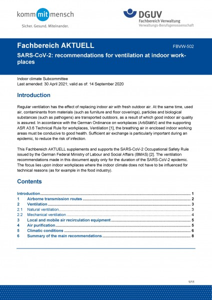 """FBVW-502 """"SARS-CoV-2: recommendations for ventilation at indoor workplaces"""""""