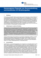 Kanzerogenes Potenzial von Sonnenstrahlung und künstlichen UV-Strahlenquellen. Information des IFA
