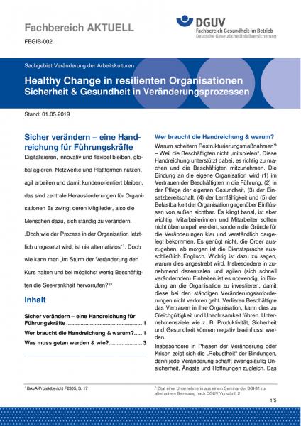 """FBGIB-002 """"Healthy Change in resilienten Organisationen - Sicherheit & Gesundheit in Veränderungspro"""