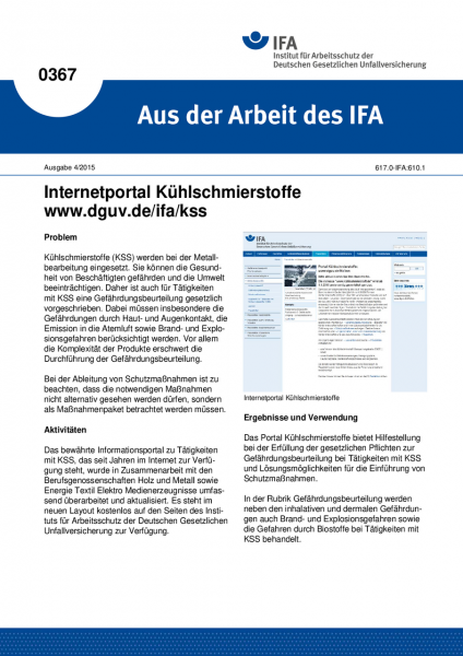 Internetportal Kühlschmierstoffe www.dguv.de/ifa/kss (Aus der Arbeit des IFA Nr. 0367)