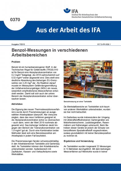 Benzol-Messungen in verschiedenen Arbeitsbereichen (Aus der Arbeit des IFA Nr. 0370)