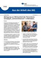 """Befragung zur Wirksamkeit der Präventionskampagne """"kommmitmensch"""" in Betrieben (Aus der Arbeit des IAG 3103)"""