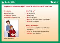 Erste Hilfe Karte: Allgemeine Verhaltensregeln