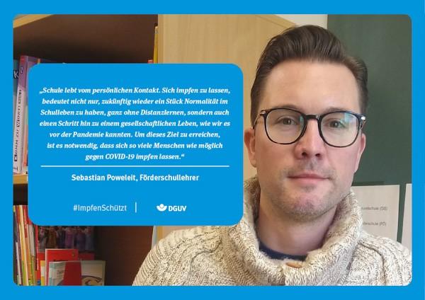 """Plakat #ImpfenSchützt, Motiv """"Sebastian Poweleit"""" (DGUV) Querformat"""