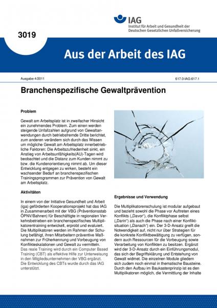 Branchenspezifische Gewaltprävention. Aus der Arbeit des IAG Nr. 3019