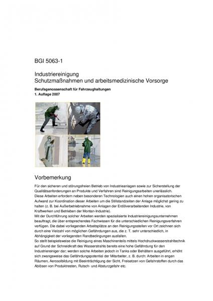 Industriereinigung - Schutzmaßnahmen und arbeitsmedizinische Vorsorge