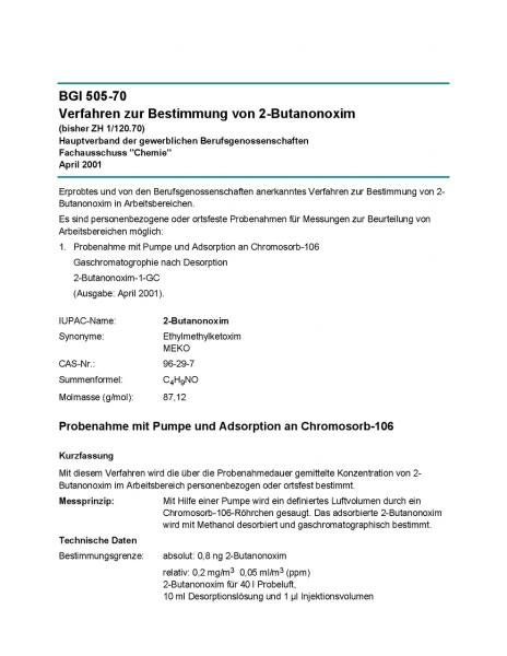 Verfahren zur Bestimmung von 2-Butanonoxim