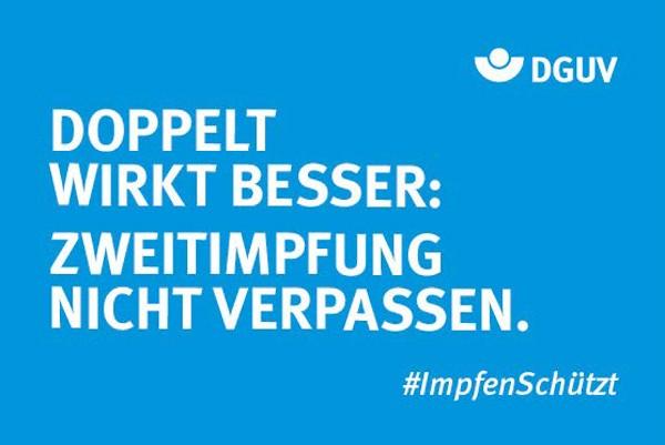 """Motiv #ImpfenSchützt, """"Doppelt wirkt besser"""" (DGUV)"""