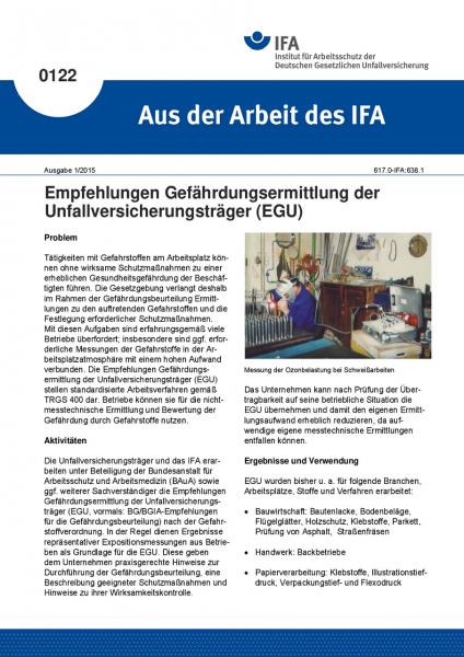Empfehlungen Gefährdungsermittlung der Unfallversicherungsträger (EGU). Aus der Arbeit des IFA Nr. 0