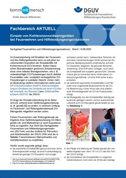 """FBFHB-021 """"Einsatz von Kohlenmonoxidwarngeräten bei Feuerwehren und Hilfeleistungsorganisationen"""""""