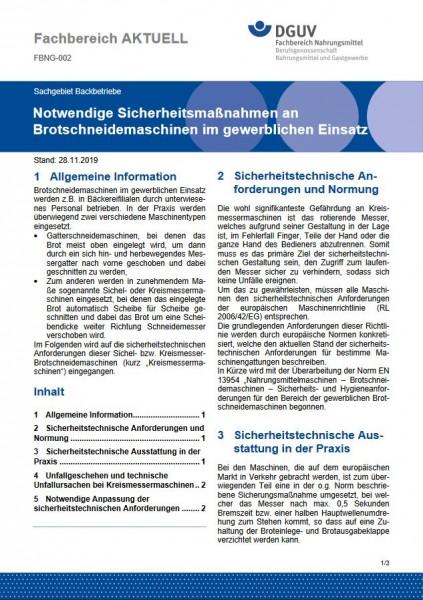 """FBNG-002 """"Notwendige Sicherheitsmaßnahmen an Brotschneidemaschinen im gewerblichen Einsatz"""""""