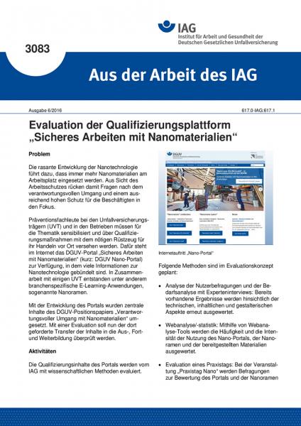 """Evaluation der Qualifizierungsplattform """"Sicheres Arbeiten mit Nanomaterialien"""" (Aus der Arbeit des"""