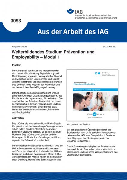 Weiterbildendes Studium Prävention und Employability – Modul 1 (Aus der Arbeit des IAG Nr. 3093)