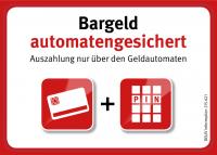 Aufkleber (klein) – Bargeld automatengesichert