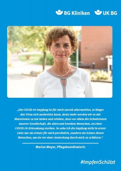 Plakat #ImpfenSchützt, Motiv: Marion Meyer (UK|BG und BG Kliniken) Hochformat