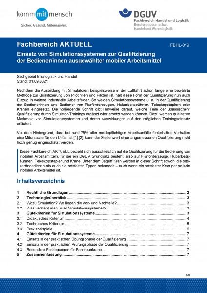 """FBHL-019 """"Einsatz von Simulationssystemen zur Qualifizierung der Bediener/innen ausgewählter mobiler"""